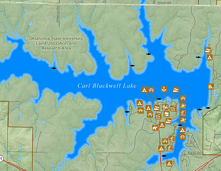 Oklahoma fishing guide map for Lake Blackwell.