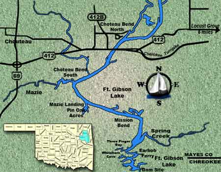 Oklahoma fishing guide map for Lake Fort Gibson.